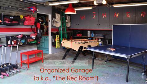 check    organized garage turned rec room