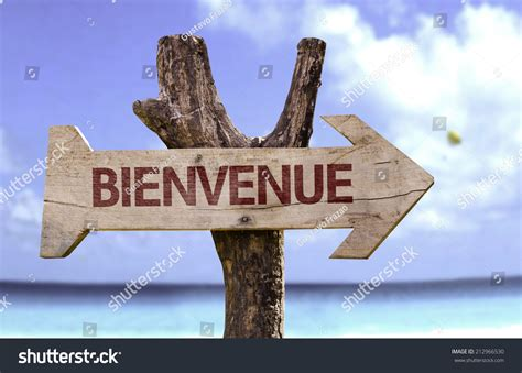 Bienvenue In French Welcome Wooden Sign Stock Photo ...