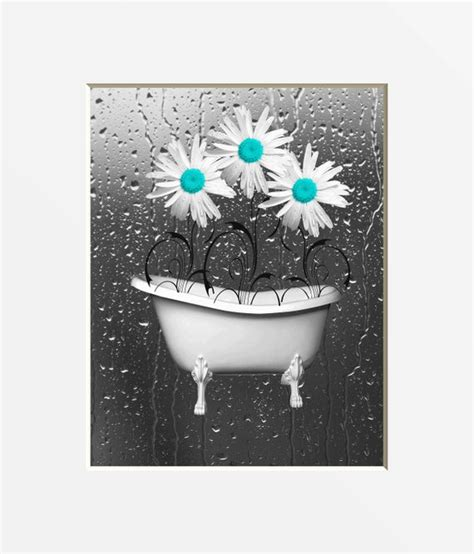 teal gray bathroom wall art teal daisy flowers bathtub etsy