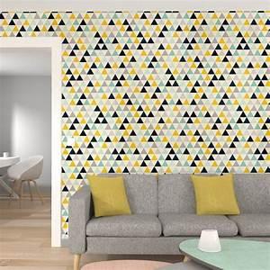 Papier Peint Intissé 4 Murs : intiss triangle wood coloris multicolore cru papier ~ Dailycaller-alerts.com Idées de Décoration