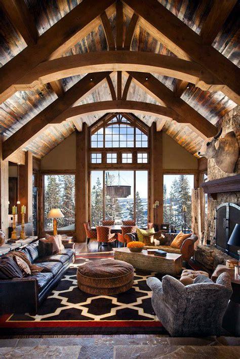 cozy  warm log cabin living rooms   fall  love
