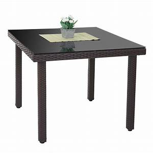 Gartentisch Rattan Braun : poly rattan gartentisch cava esstisch mit glasplatte 90x90x74cm braun ebay ~ Indierocktalk.com Haus und Dekorationen