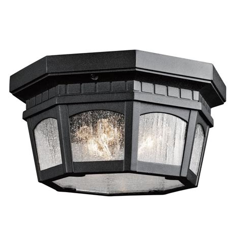 kichler 9538bkt black weatherly 3 light outdoor flush