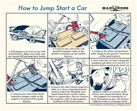 jump start car how to jump start your car an illustrated guide the of manliness