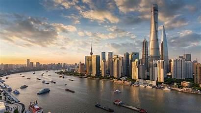 Shanghai Skyline Blick Wolkenkratzer Modernen Auf Der