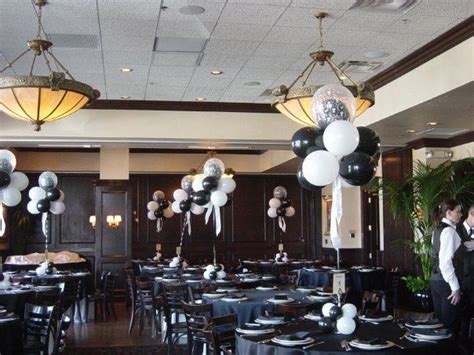 black and white party table centerpieces black and white balloon combo bar mitzvah centerpieces
