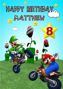 Birthday Boy Banner Personalised Super Mario Birthday Card