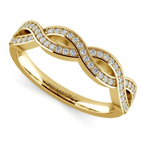 infinity twist diamond wedding ring  yellow gold