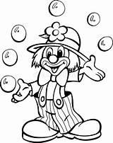 Clown Circus Pagliaccio Circo Juggling Sfere Balls Coloritura Zirkus Jongleren Ballen Cirkus Giocoliere Palle Jonglieren Kleurend Paginaoverzicht Pastelli Blocchetto sketch template