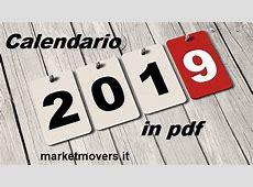Calendario 2019 in pdf stampabile gratis