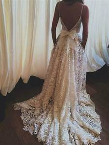 lace wedding dress backless wedding dress boho wedding With lace back wedding dresses