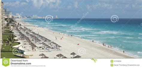 View Of Beach And Caribbean Sea In Cancun Mexico Stock