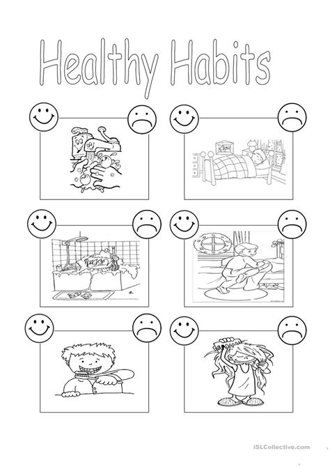 healthy habits esl worksheets