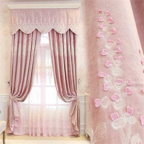 princess pink embroidery curtains jacquad tulle curtains
