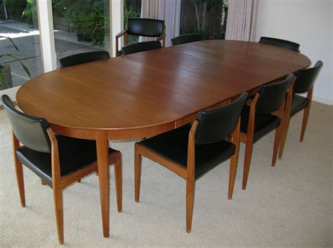 1960s sor 248 sole teak dining room table 9 chairs pads mid