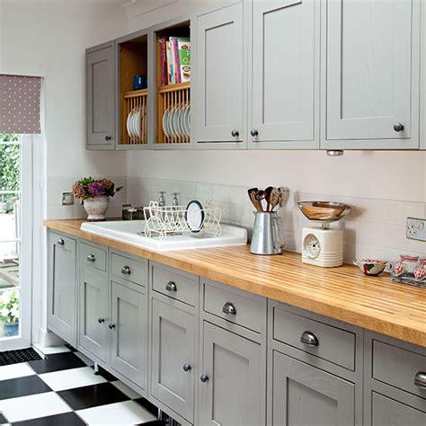 grey shaker style kitchen  wooden worktop decorating