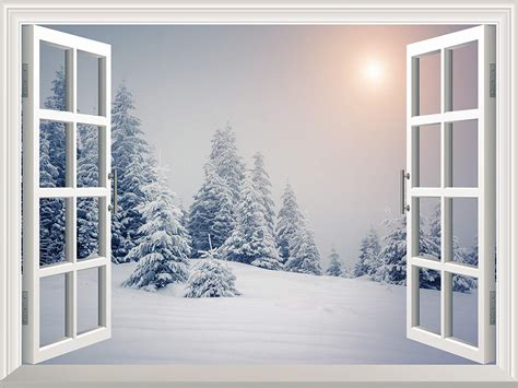 Open Snow by Removable Wall Sticker Wall Mural Pine Trees Covered By