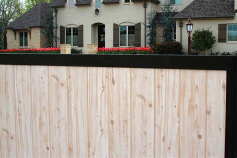 build  wood fence  metal posts   beautiful