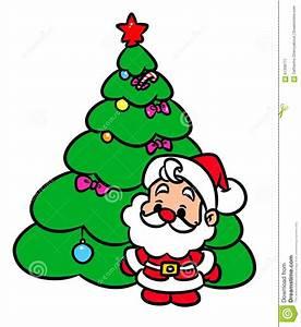 Christmas Tree Santa Claus Mini Cartoon Illustration Stock ...