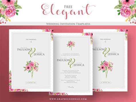 Free Elegant Wedding Invitation Templates by Graphic