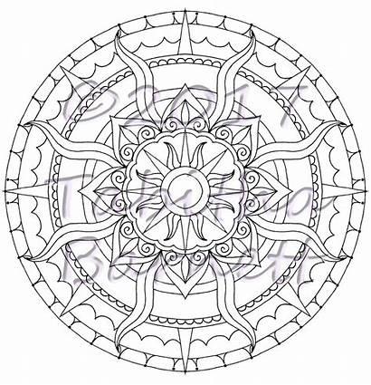 Moon Sun Mandala Coloring Stars Mandalas Pdf