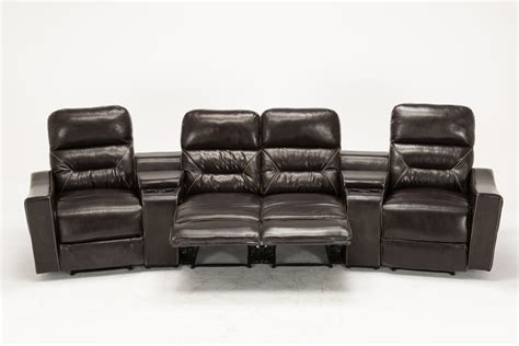 Theater Loveseat by Mcombo Brown Vibrating 4pc Home Theater Recliner Media