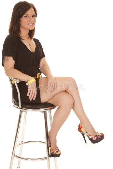 Woman Sit Black Dress Flower Shoes Stock Photo  Image Of