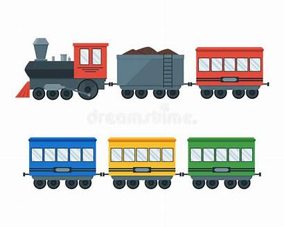 Train Vector Wagons Locomotive Illustration Flat Retro