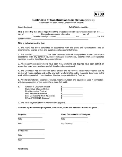 certificate  construction completion  word   formats