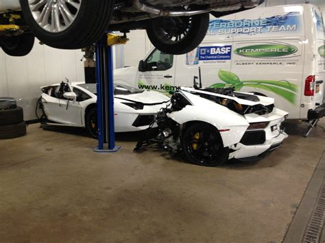 crashed white lamborghini wrecked lamborghini aventador for sale at 125 000 gtspirit