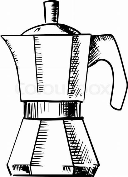 Coffee Maker Drawing Espresso Pot Sketch Italian