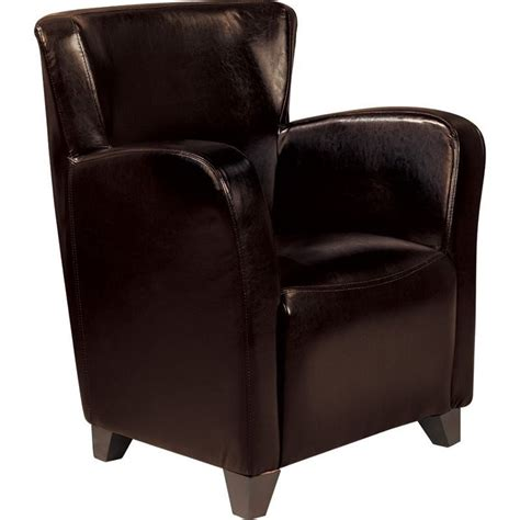 coaster accent faux leather club chair in brown 900234