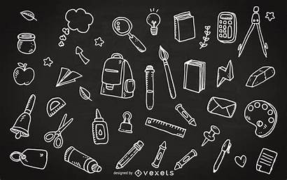 Chalkboard Doodles Supplies Clipart Supply Vector Education