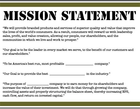 Mission Statement Template Financial Statements 2012 Best Template Collection