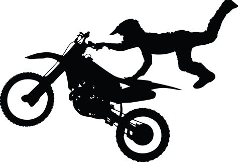 Free Clipart Of A Silhouetted Man Catching Air On A Dirt Bike