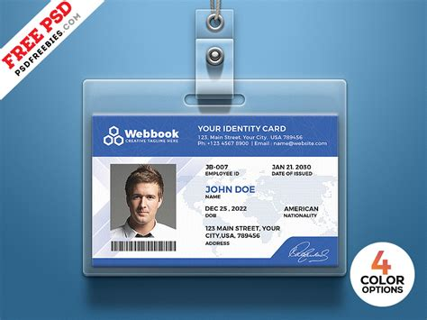 id card template psd set psdfreebiescom