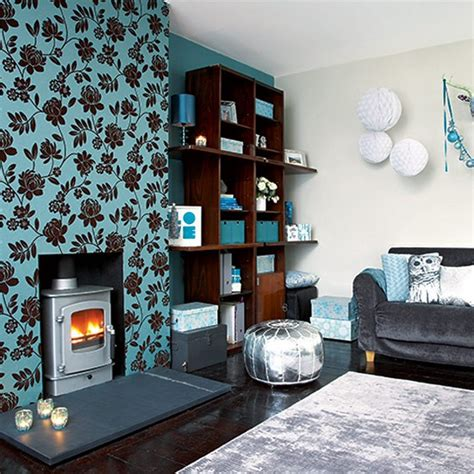 be bold with pattern festive teal and silver living room