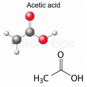 Structural chemical formula and model of acetic acid ...