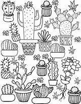 Coloring Cute Pages Cacti sketch template