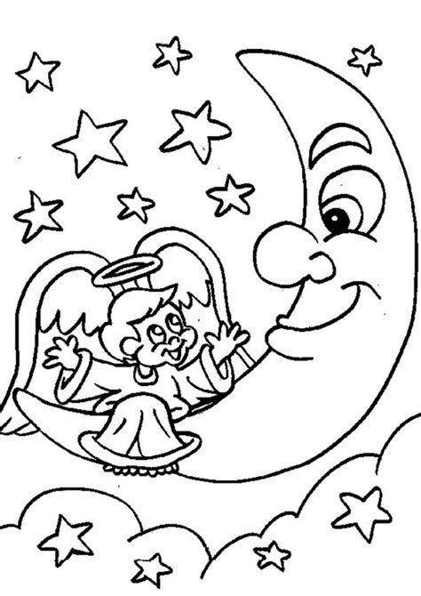 free printable moon coloring pages for best 498 | angel and moon coloring pages 724x1024