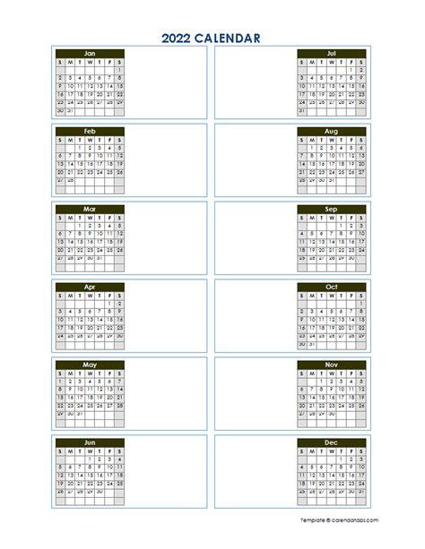 blank yearly calendar template vertical design