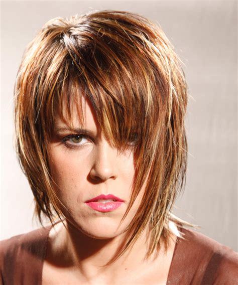 Alternative Medium Straight Hairstyle with Razor Cut Bangs