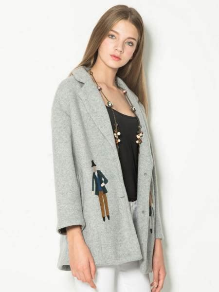 grey wool coat womens with buttons closure