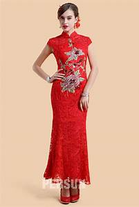 robe chinoise en dentelle rouge a broderie jmrougefr With robe chinoise rouge