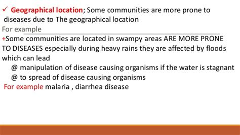 What Does Geographic Location by Factors Affecting Community Health
