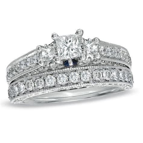 vera wang collection 2 3 4 ct t w princess cut three bridal in 14k