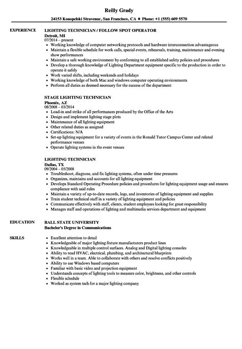 lighting technician resume samples velvet jobs