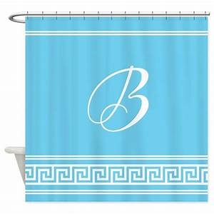 Monogram geometric turquoise shower curtain by for Kitchen colors with white cabinets with monogram stickers for cups