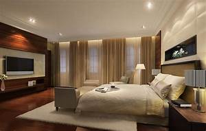 Modern bedroom with wood TV - wall 3D House
