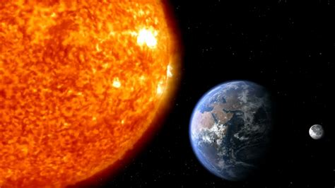 Sun Earth Moon Planet Earth With Moon And Sun In Space Motion Background